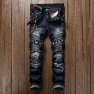 Slim Fit Pleated Straight Biker Jeans - 2 / 30