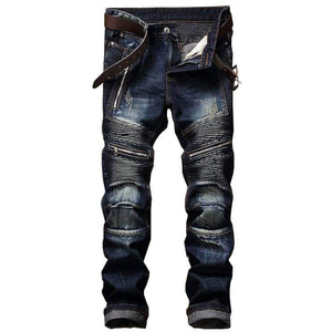 Slim Fit Pleated Straight Biker Jeans