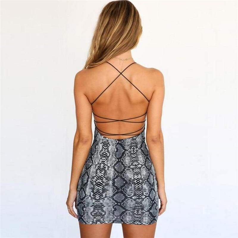 Snakeskin Print Backless Mini Dress