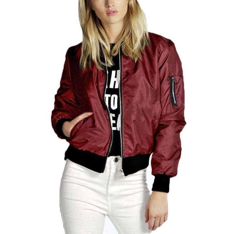 Solid Color Bomber Jacket - Wine Red / S