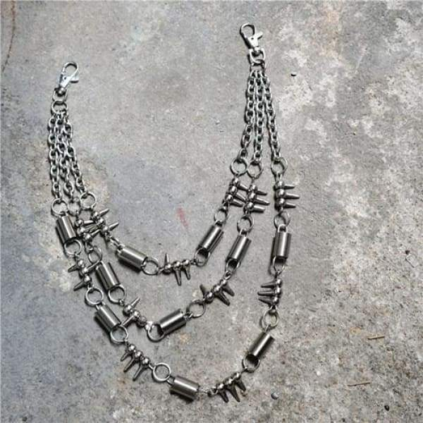 Trendy Silver Metal Waist Chain Belt - 05