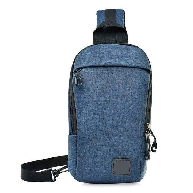 Unisex Anti Theft Canvas Crossbody Backpack - Blue