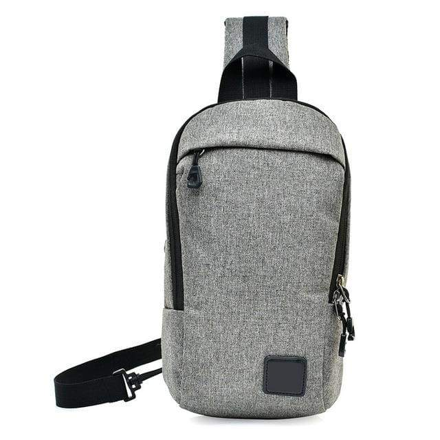 Unisex Anti Theft Canvas Crossbody Backpack - Grey