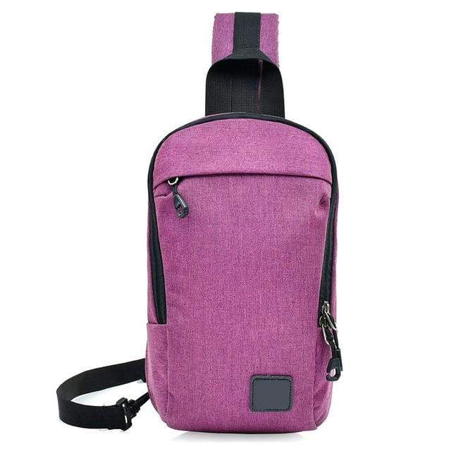 Unisex Anti Theft Canvas Crossbody Backpack - Purple