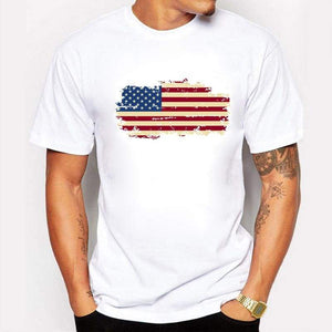 USA Flag Mens Short Sleeve Cotton T-shirt - XS