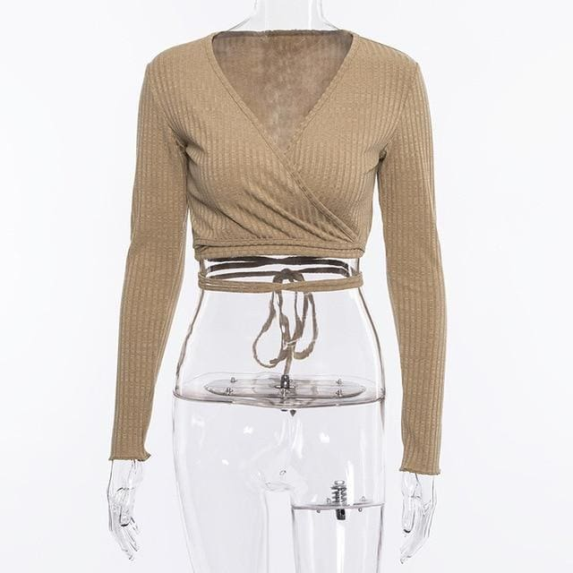 Deep V Bandage Long Sleeve Crop Top - khaki / S