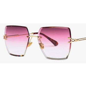 Vintage Crystal Square Rimless Sunglasses
