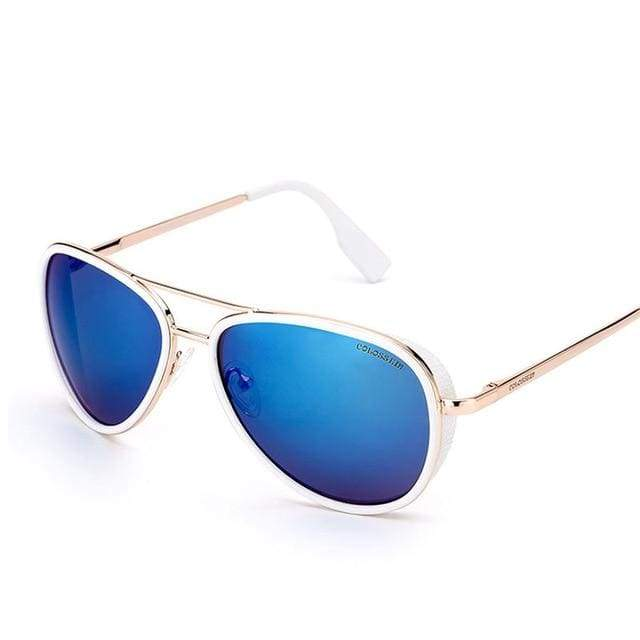 Vintage Metal Frame Pilot Sunglasses - Blue / mix