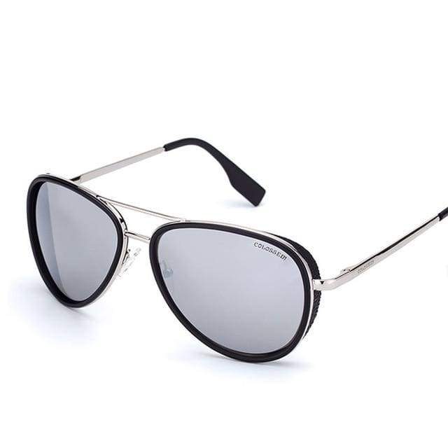 Vintage Metal Frame Pilot Sunglasses - Gray / mix
