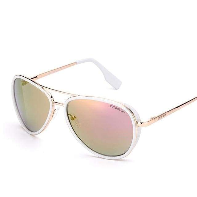 Vintage Metal Frame Pilot Sunglasses - Pink / mix