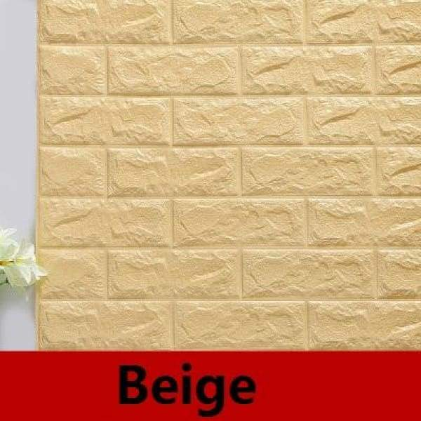 Waterproof Self Adhesive 3D Brick Wall Stickers - Beige / 70cmX15cm