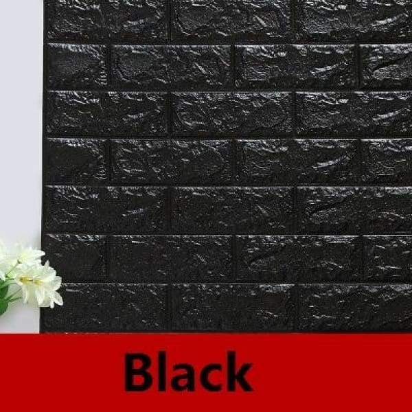 Waterproof Self Adhesive 3D Brick Wall Stickers - Black / 70cmX15cm