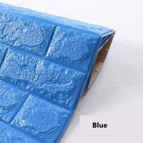 Waterproof Self Adhesive 3D Brick Wall Stickers - Blue / 70cmX15cm