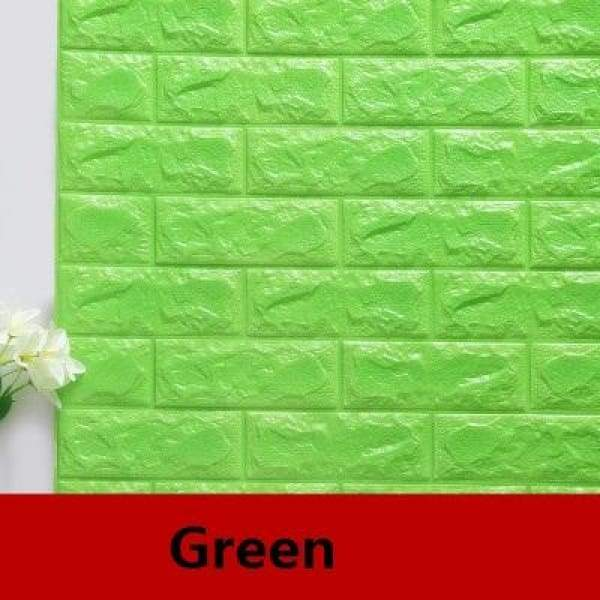 Waterproof Self Adhesive 3D Brick Wall Stickers - Green / 70cmX15cm