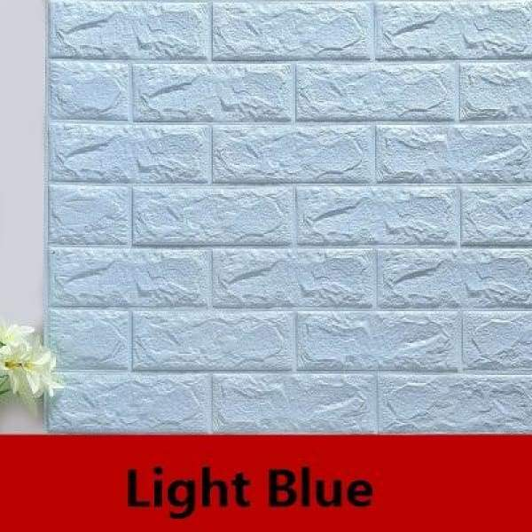 Waterproof Self Adhesive 3D Brick Wall Stickers - Light Blue / 70cmX15cm