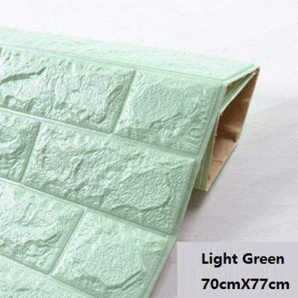 Waterproof Self Adhesive 3D Brick Wall Stickers - Light Green / 70cmX15cm