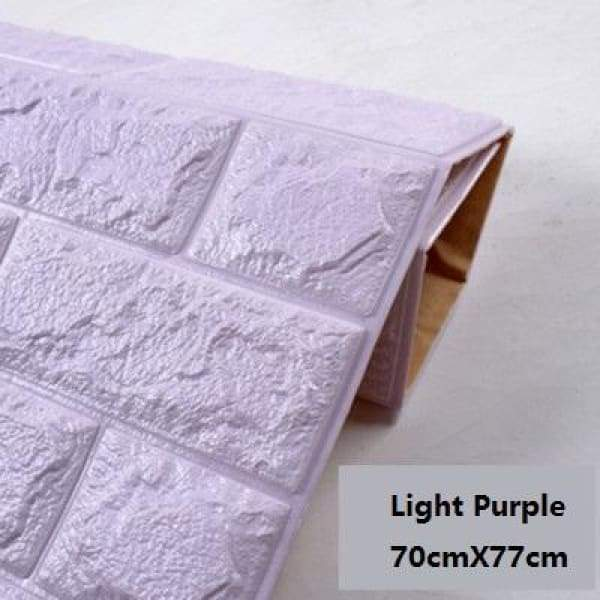 Waterproof Self Adhesive 3D Brick Wall Stickers - Light Purple / 70cmX15cm