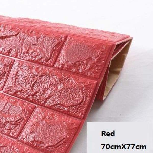 Waterproof Self Adhesive 3D Brick Wall Stickers - Red / 70cmX15cm