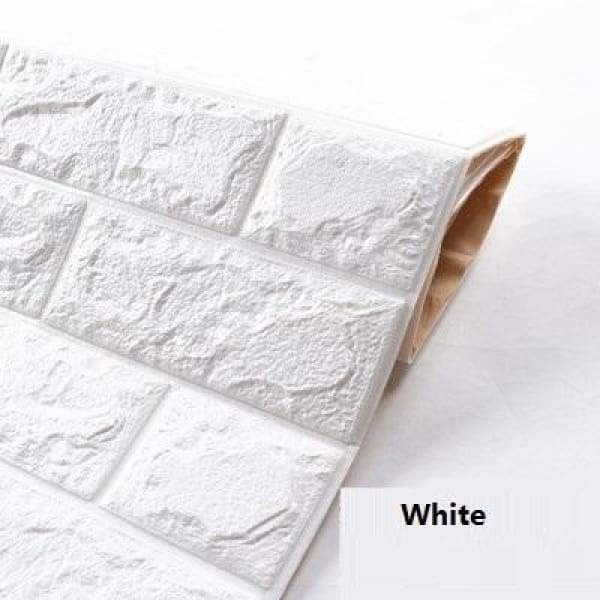 Waterproof Self Adhesive 3D Brick Wall Stickers - White / 70cmX15cm
