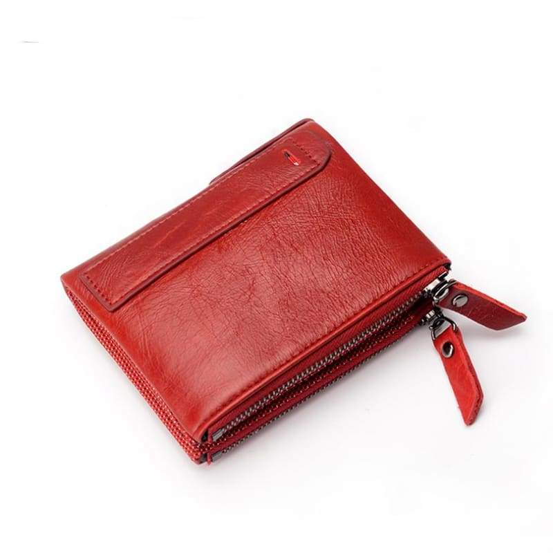 Womens Double Zipper Genuine Leather Wallet