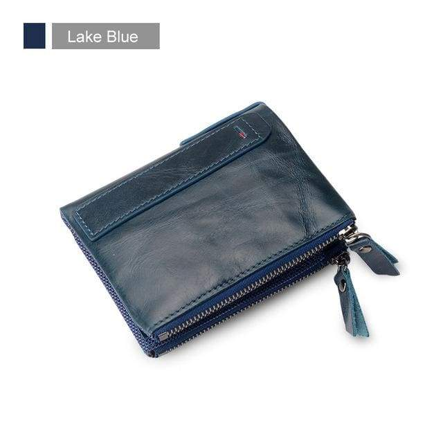 Womens Double Zipper Genuine Leather Wallet - Lake Blue