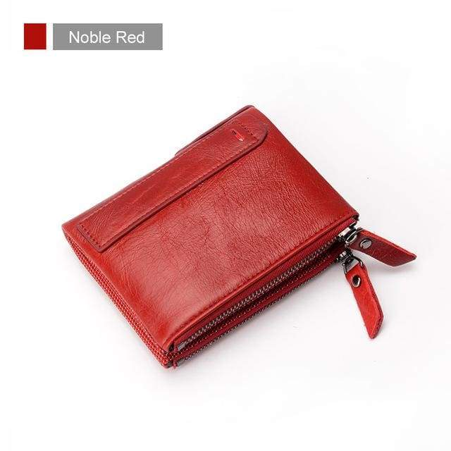 Womens Double Zipper Genuine Leather Wallet - Noble Red