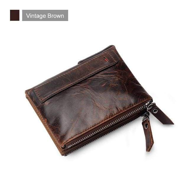Womens Double Zipper Genuine Leather Wallet - Vintage Brown