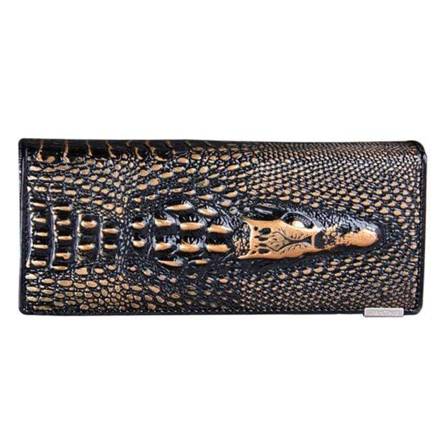 Womens Genuine Leather 3D Embossing Alligator Wallet - Brown