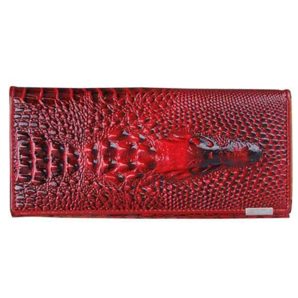 Womens Genuine Leather 3D Embossing Alligator Wallet - Dark red