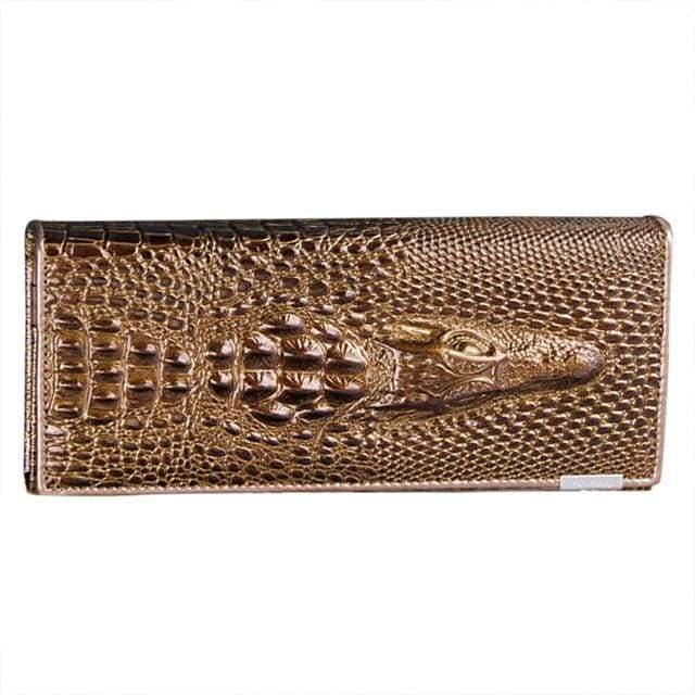 Womens Genuine Leather 3D Embossing Alligator Wallet - Gold