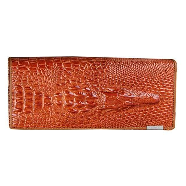 Womens Genuine Leather 3D Embossing Alligator Wallet - Orange