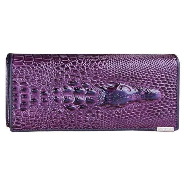 Womens Genuine Leather 3D Embossing Alligator Wallet - Purple