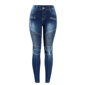 Women`s Motorcycle Mid High Waist Stretch Skinny Jeans