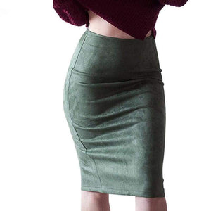 Womens Solid Color Suede Pencil Skirt
