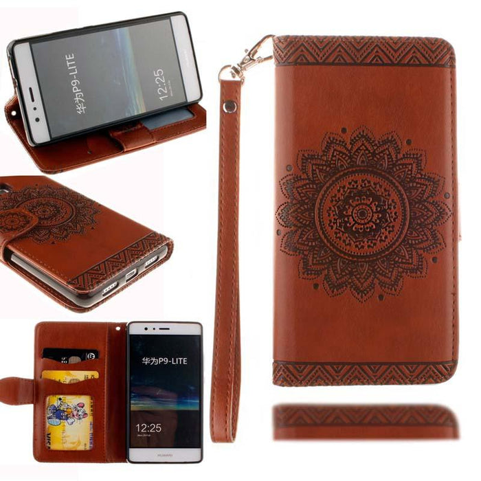 lite Cover Luxury Datura Flower Wallet Flip Leather Case For Huawei P8 P9