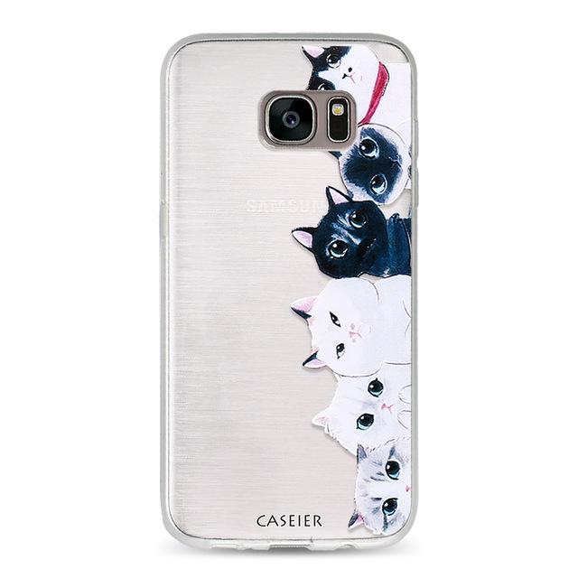 Cute Cat Phone Case For Samsung Galaxy S6 S7 Edge S8 Plus Note 8