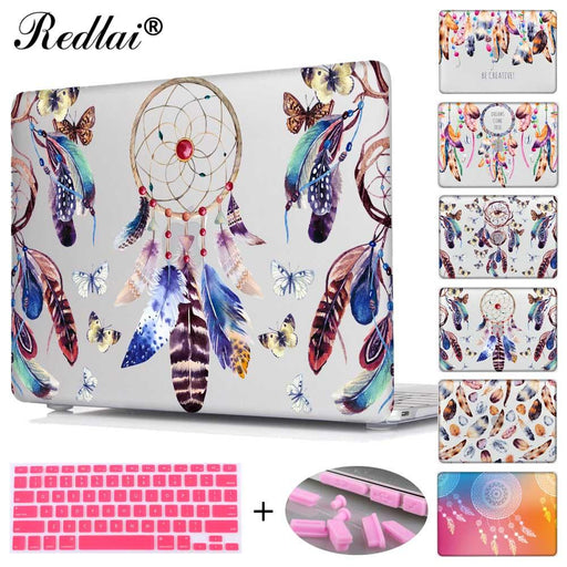Redlai Colorful Feathers Print Hard Case For Macbook Air 13 A1466 A1369 Laptop Bag For Mac Book Pro 13 15 Touch bar A1706 A1707