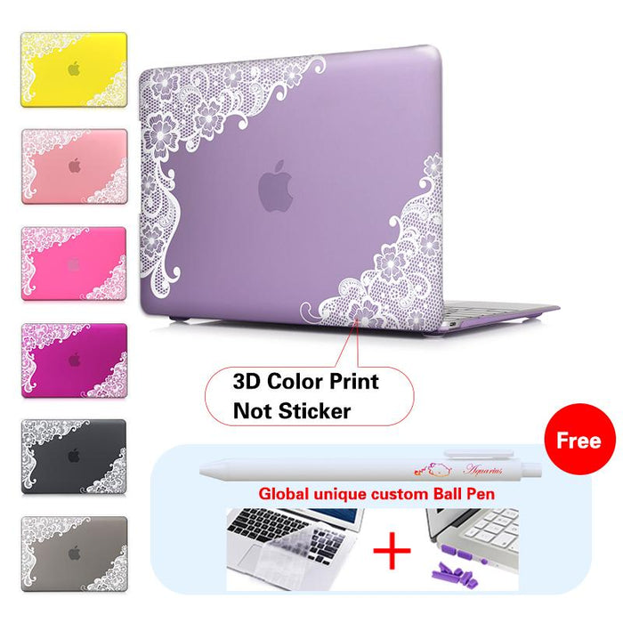 Lace Floral Laptop Accessories Print Cover For Macbook Pro 13 Case Pro 13 15 Retina Laptop Skin 13.3 Inch Tablet