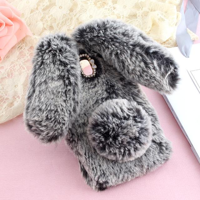 Rabbit Ear Hair Fur Cute Case For Samsung J7 J3 J5 2017 Luxury Bling Diamond Soft Cover