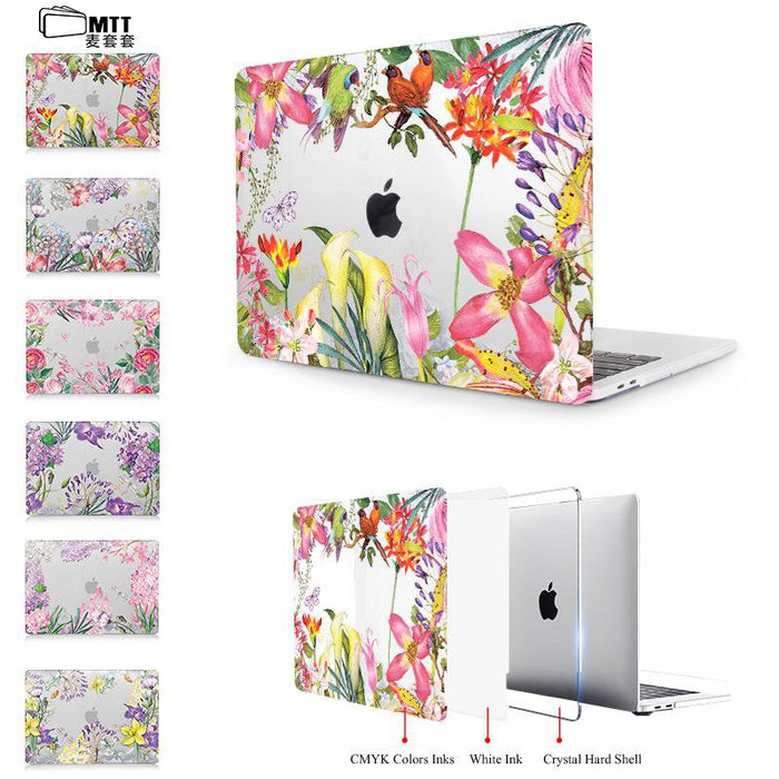Clear Crystal Case For macbook Pro 13 15 Retina 12 inch Touch Bar Watercolor flower Laptop bag Cover for Macbook Air 13 case
