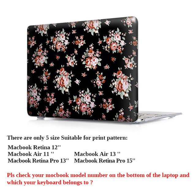 Macbook air 13 Pro 13 15 with touch bar Print Rose Floral Case For Mac book pro Retina 13 15 12 Case Keyboard Cover - case.n.more