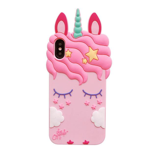 iPhone / Samsung Galaxy 3D Pink Unicorn Soft Silicone Case