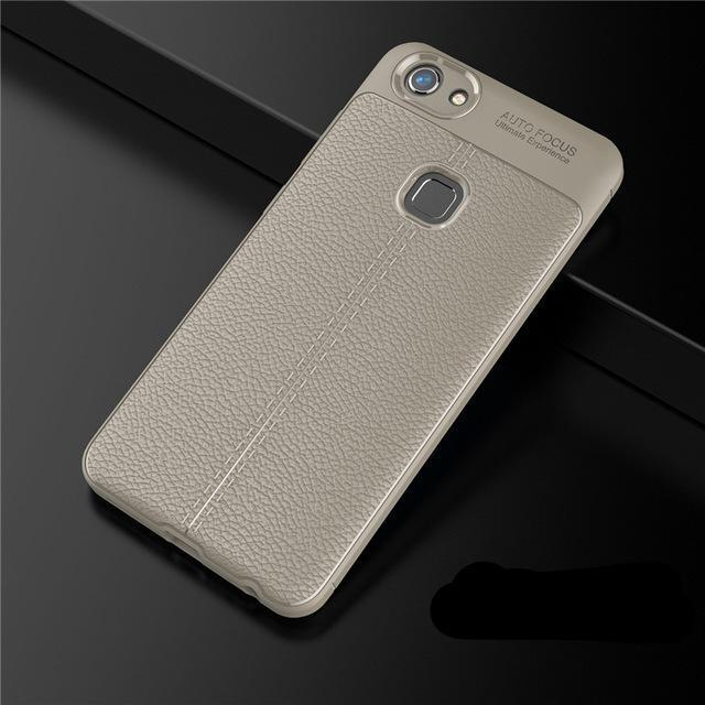 VIVO Shockproof Luxury Leather TPU Back Case - case.n.more