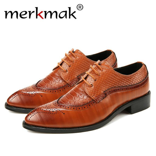 Fashion Leather Men Dress Shoes Pointed Oxfords