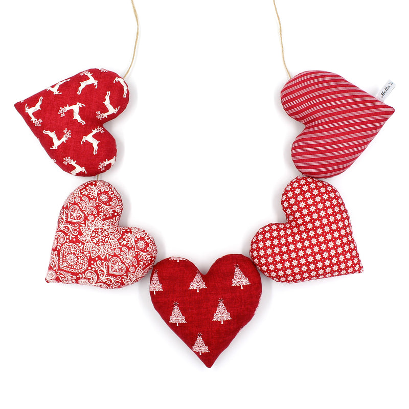 Red Scandi Christmas Heart Garland - RS1