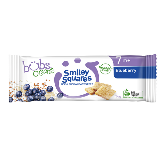 Bubs Organic® Smiley Squares Blueberry
