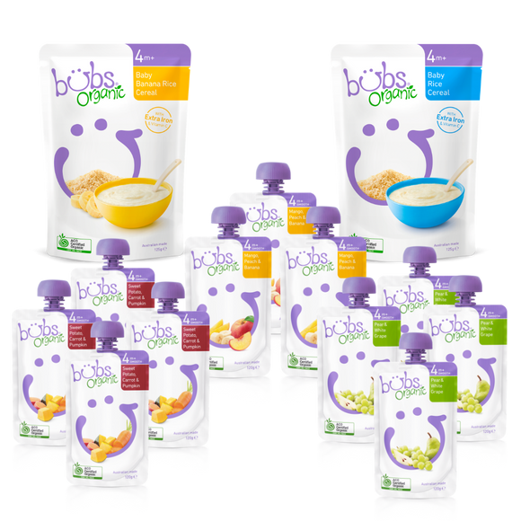 Bubs® Organic Baby Food 4months+ Two-week Bundle