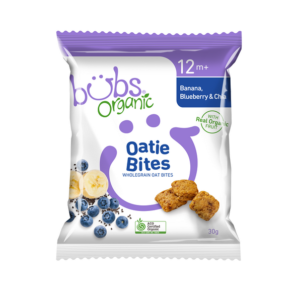 Bubs Organic® Oatie Bites Banana Blueberry and Chia