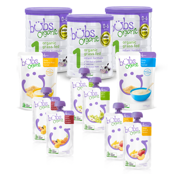 Bubs® Organic Grass Fed Infant Formula Stage 1 Two-Week Bundle