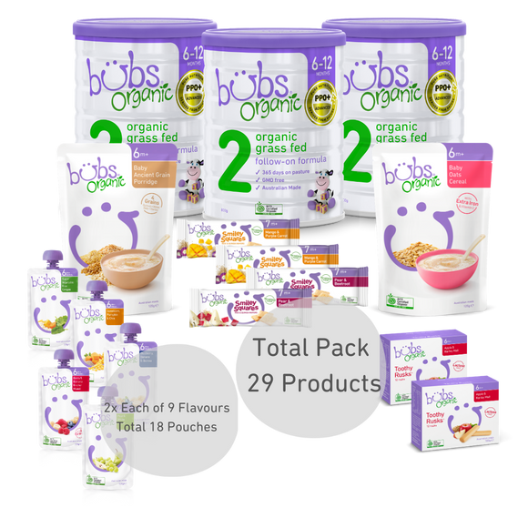 Bubs® Organic Grass Fed Follow-on Formula Stage 2 Two-Week Bundle